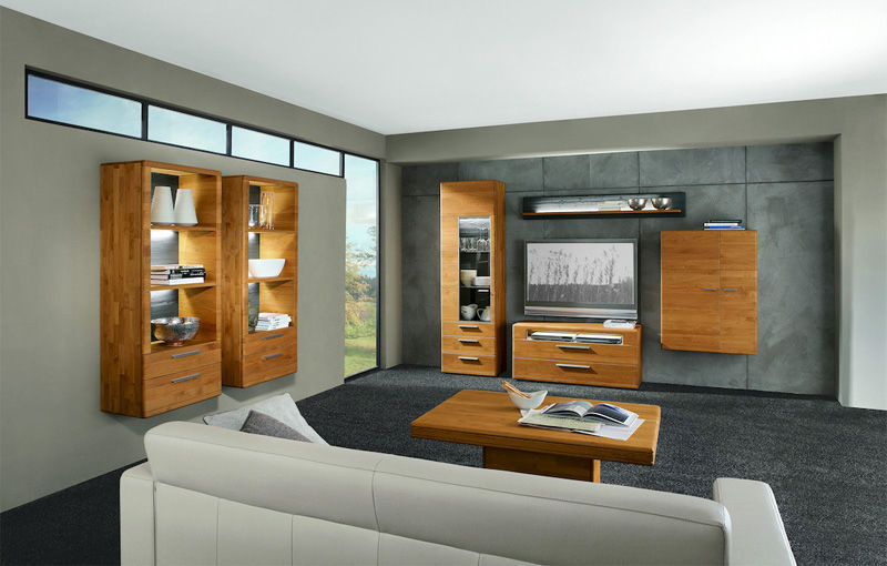 Contemporary Tv Wall Unit Solid Wood With Built In Light