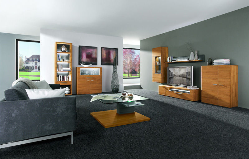 contemporary tv wall unit / solid wood / with built-in light