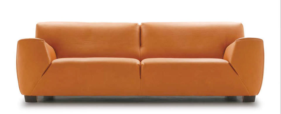 Contemporary Sofa Leather 2 Person Brown