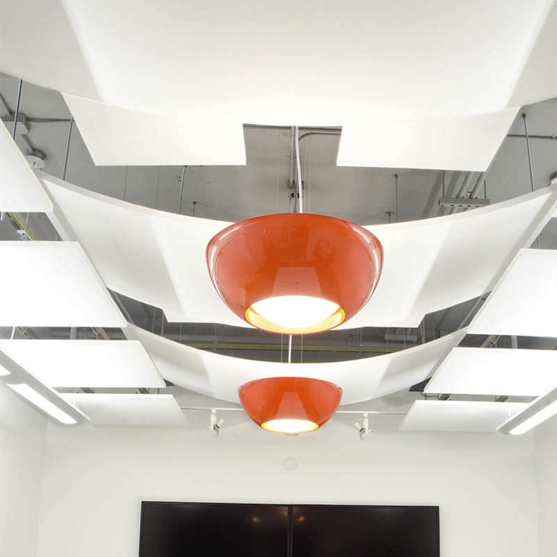 Fiberglass Suspended Ceiling Tile Acoustic Curved Nuvola
