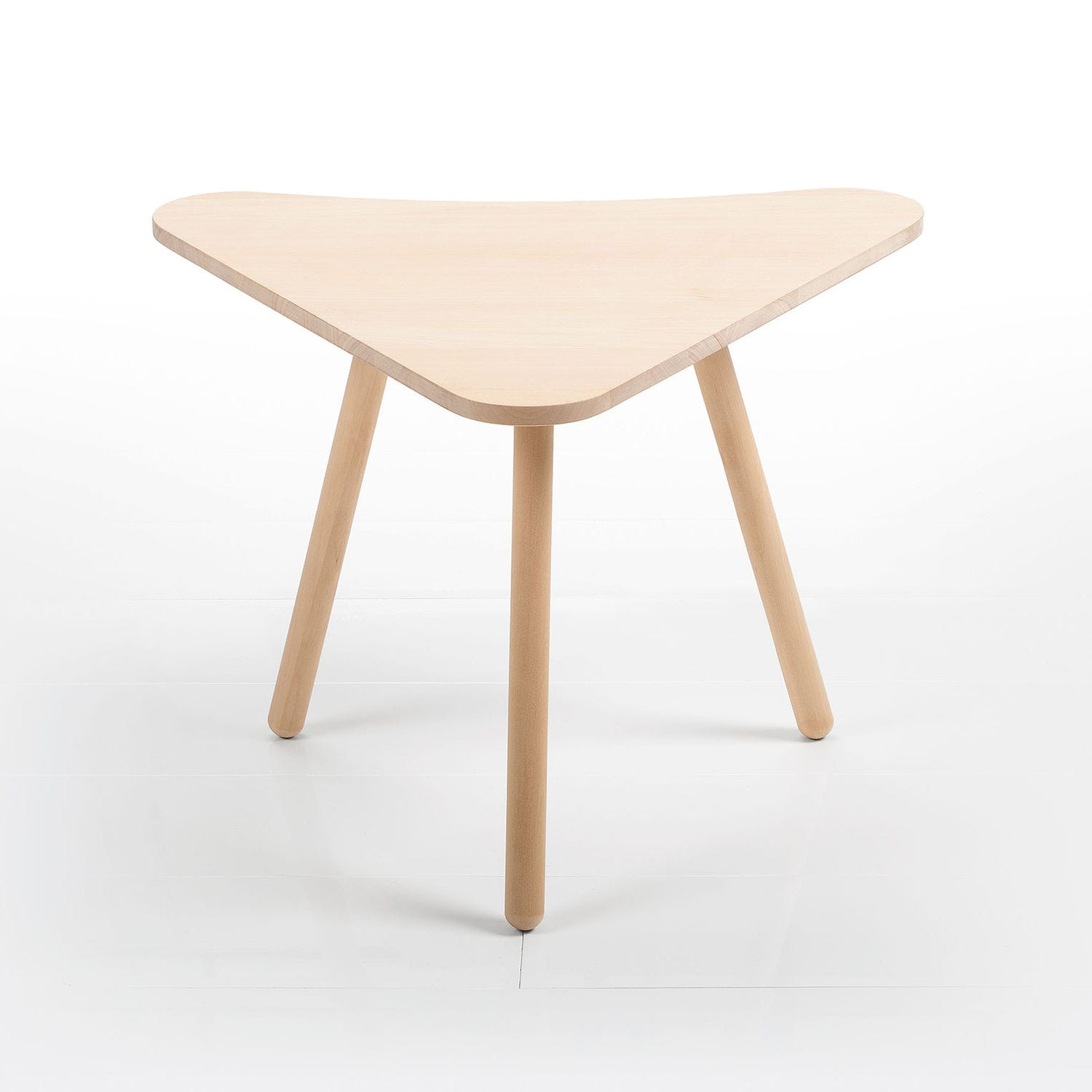 Contemporary side table birch triangular modular MOKA by