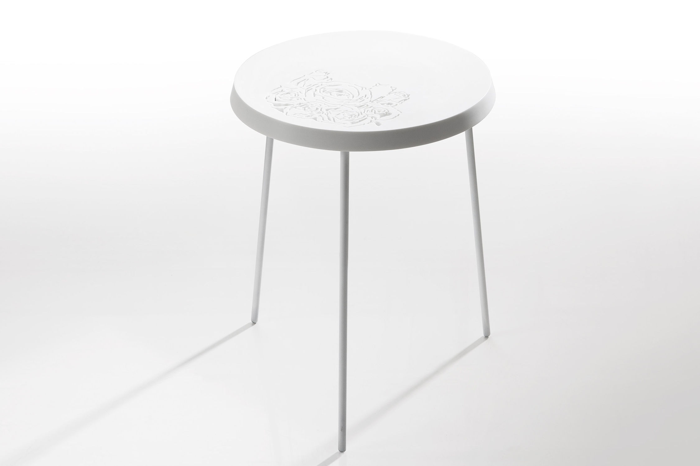 Contemporary side table Corian round FLOAT by Kati Meyer