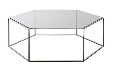 Coffee table contemporary glass steel HEXAGON by Tokujin