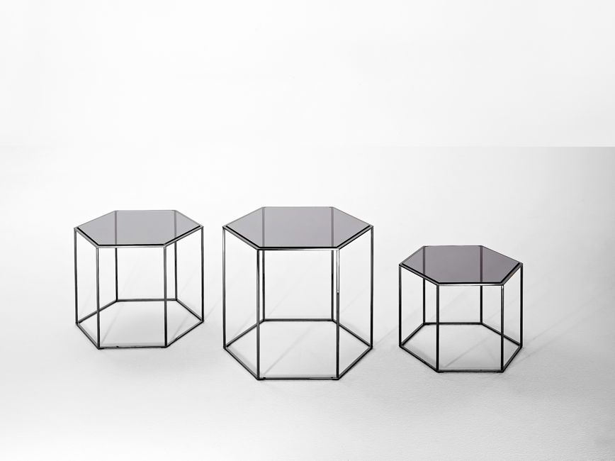 Contemporary Side Table Gl Steel Hexagonal