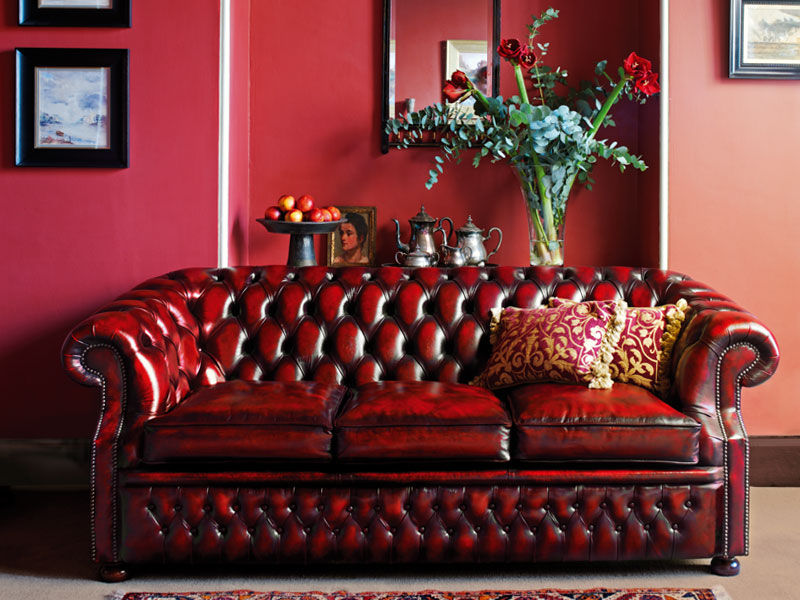 Chesterfield Sofa / Leather / 3 Seater / Red   GRAHAM