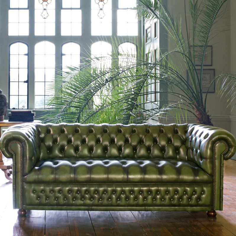 Chesterfield Sofa / Leather / 3 Seater / Green ...