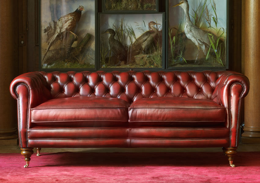 Chesterfield Sofa / Leather / 2 Person / Red   SEBASTIAN