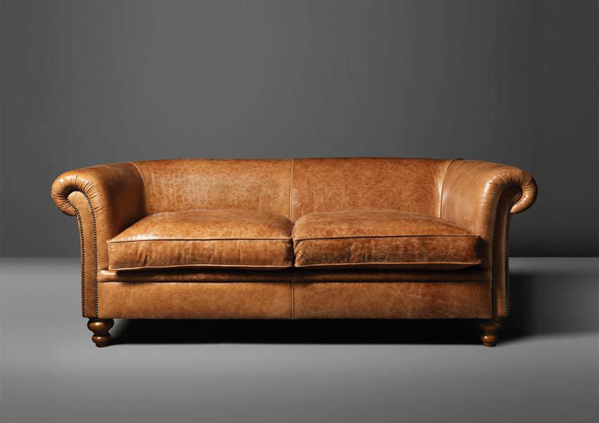 Traditional Sofa / Leather / Wool / 2 Seater   MADISON