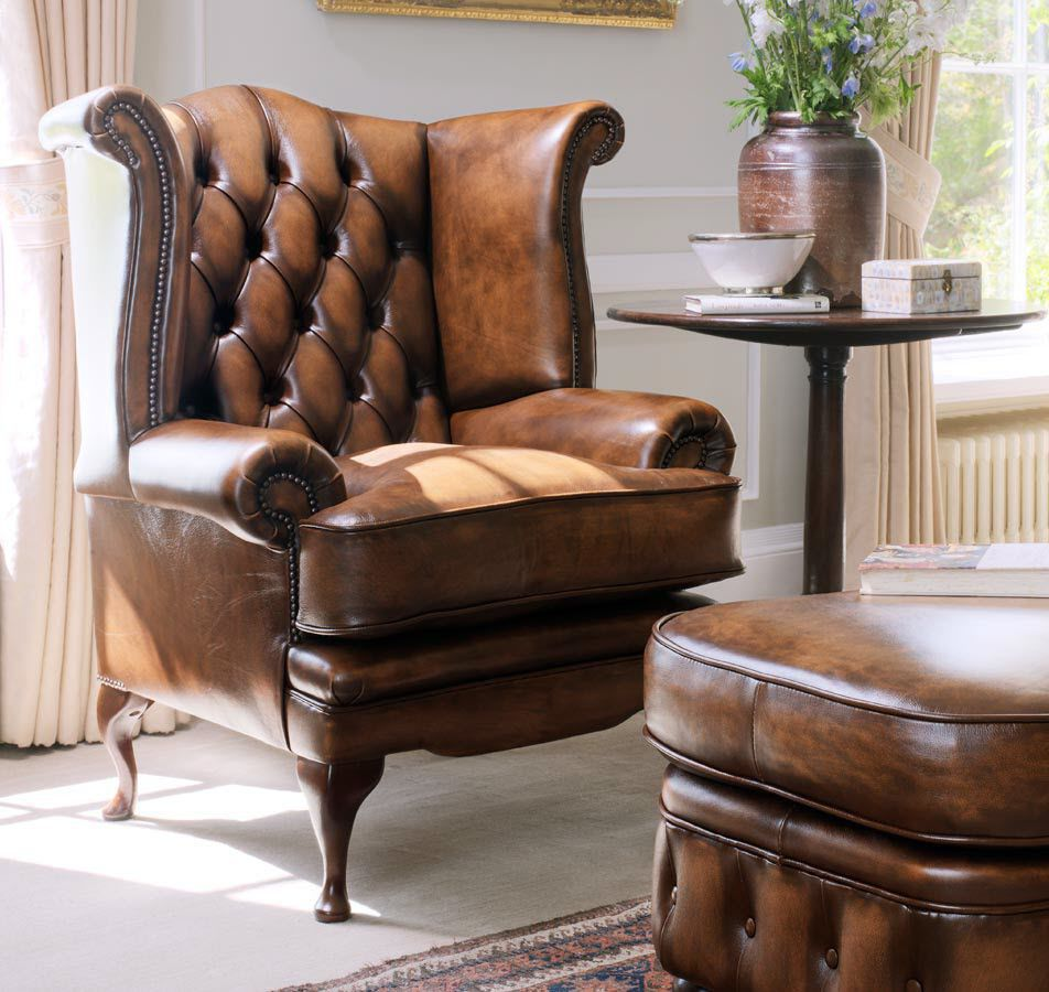 Chesterfield Armchair / Leather / Wing   EDWARD
