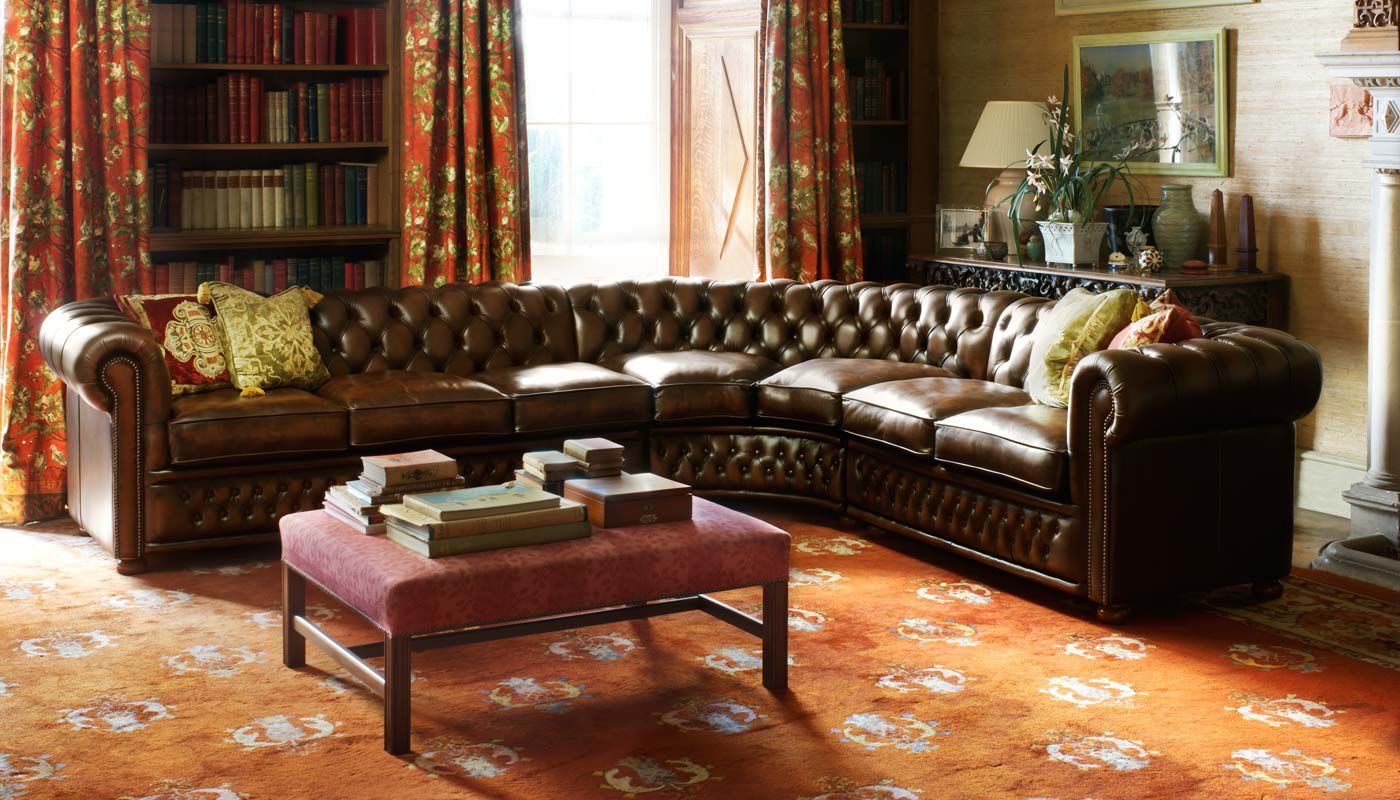 Corner sofa / Chesterfield / leather / 3-seater - STAMFORD ...