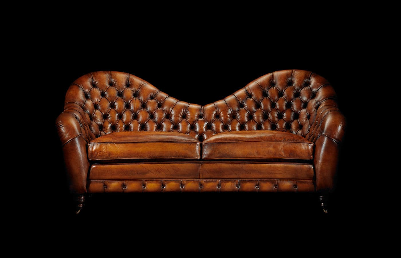 Superb Chesterfield Sofa / Leather / 2 Seater / On Casters   FRANCIS BACON