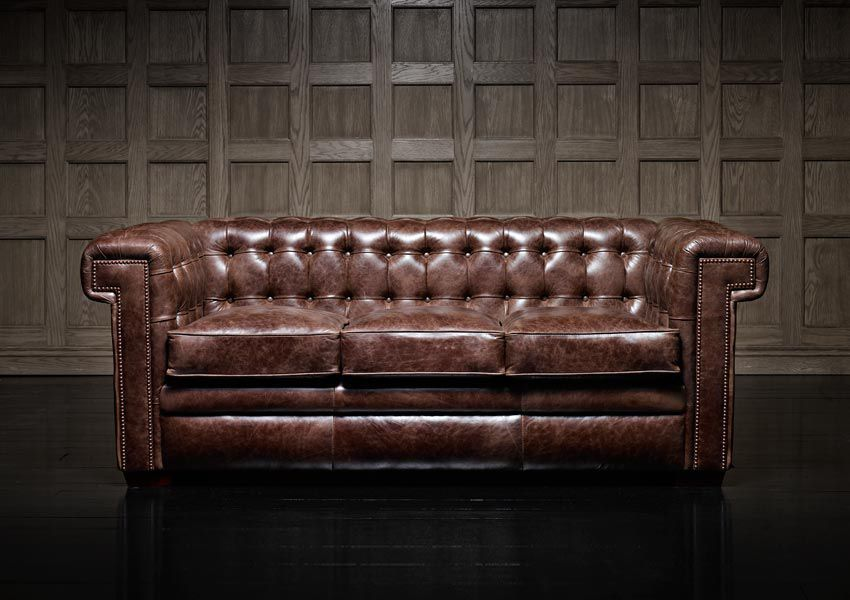 Chesterfield Sofa Leather 3 Seater Brown
