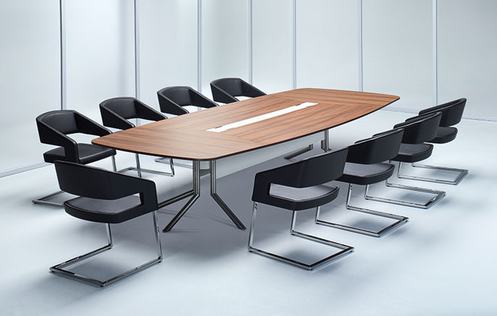 Contemporary Boardroom Table Wood Veneer With Integrated - Conference room table electrical outlets