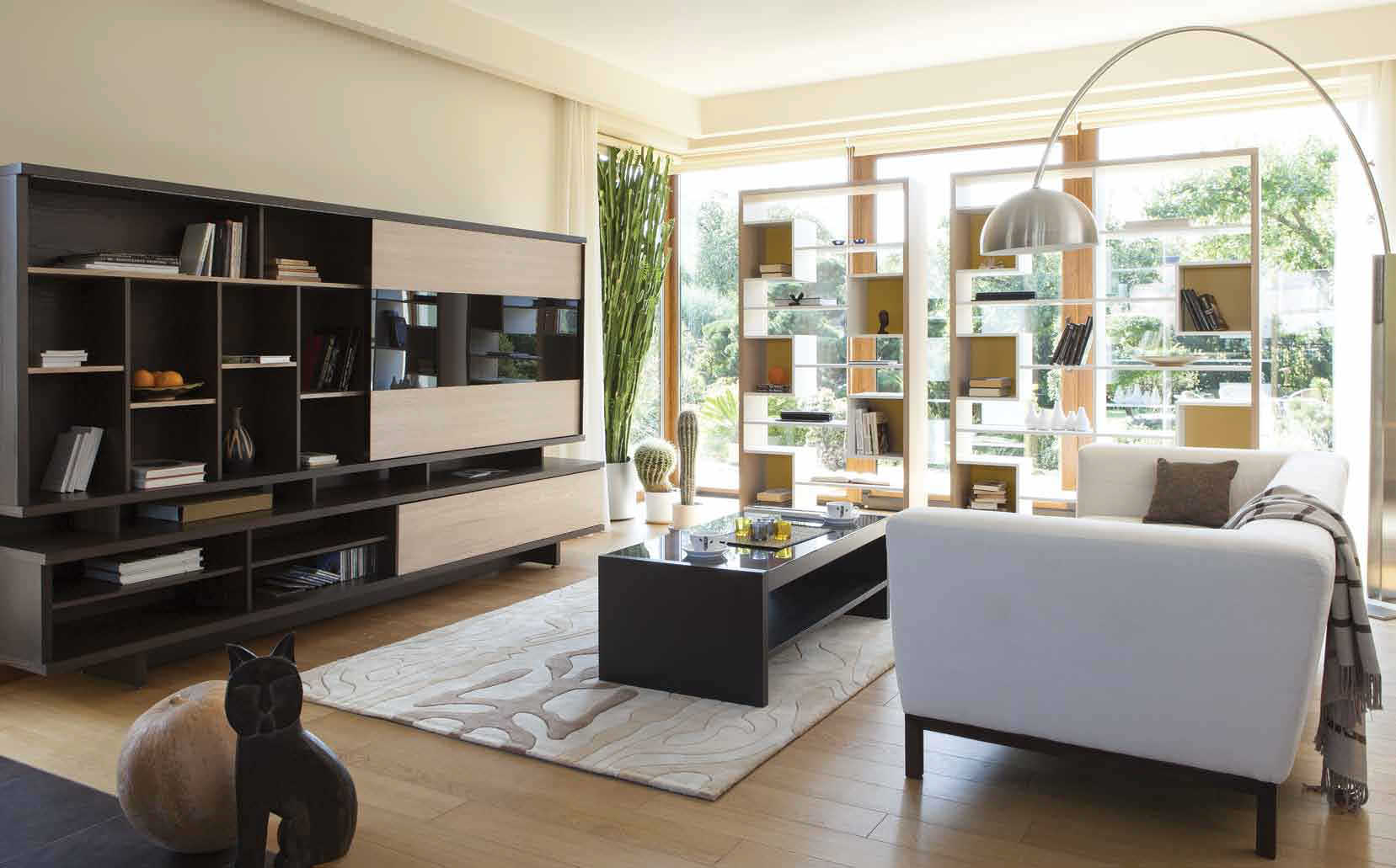 contemporary living room wall unit lacquered wood innamo sba