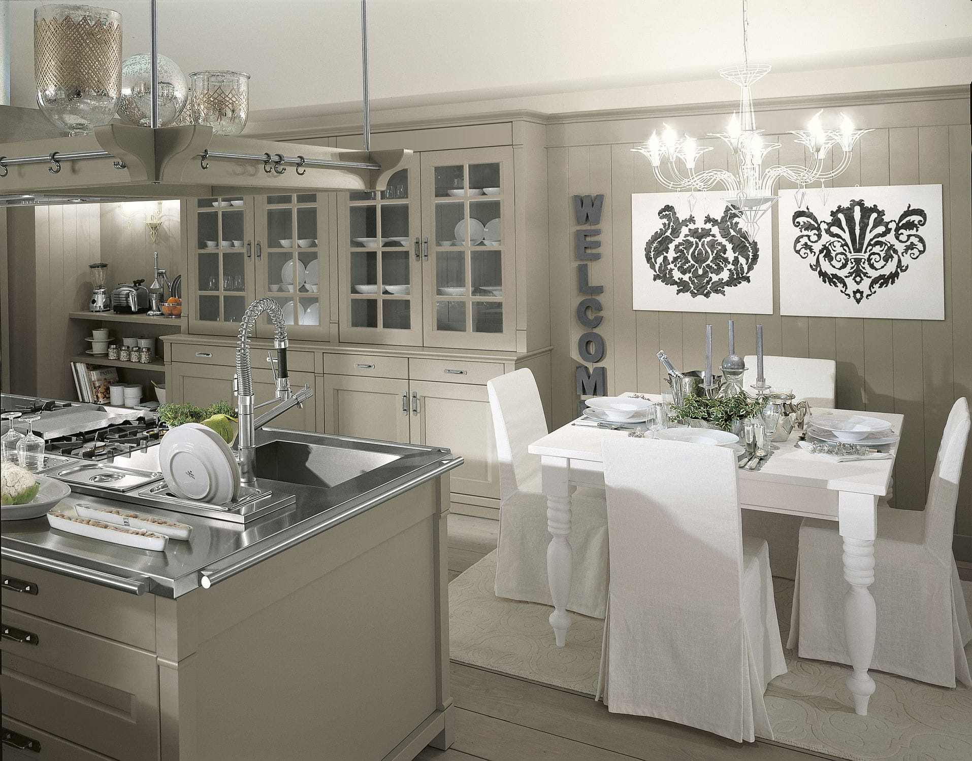 Traditional kitchen / solid wood / stainless steel / island ...