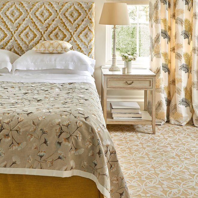 Jane Churchill Plato Wallpaper J156W 01 Source Curtain Fabric Floral Pattern Cotton Linen GINKGO