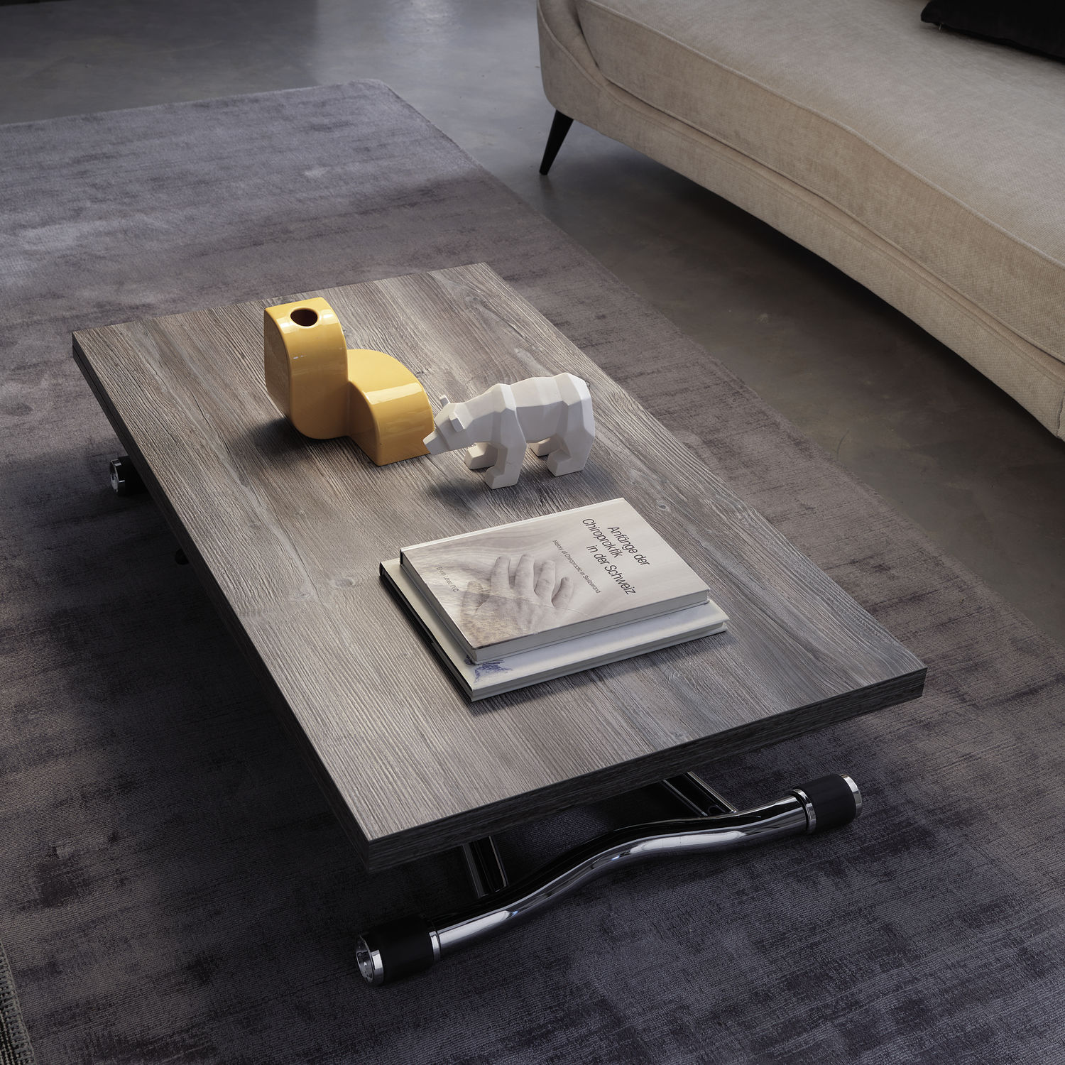 Contemporary coffee table wooden metal rectangular T121