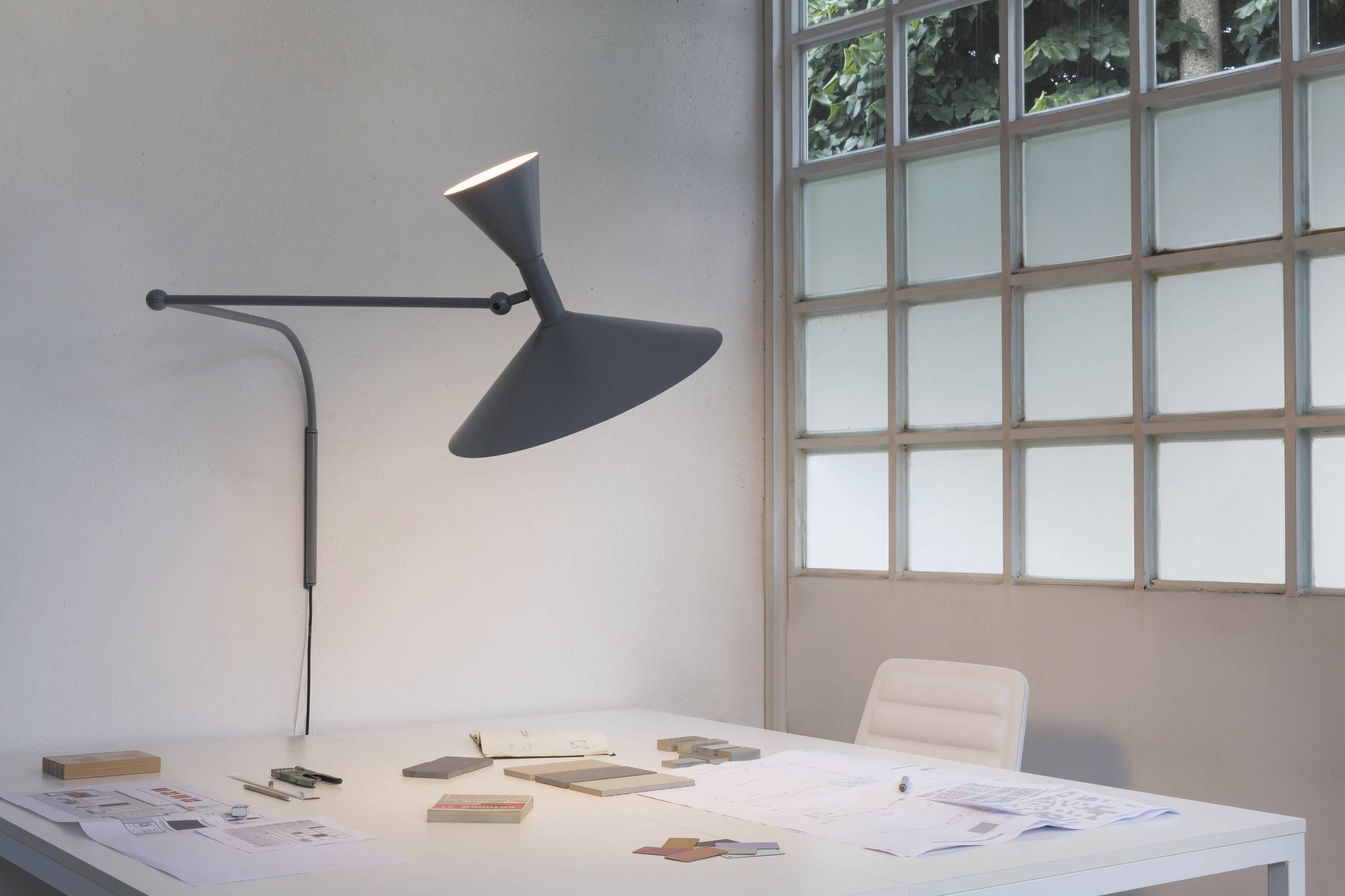 Original design wall light / aluminum / halogen / fluorescent ...