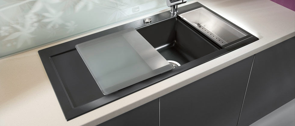Double Kitchen Sink Ceramic With Drainboard Mera 100 100 F