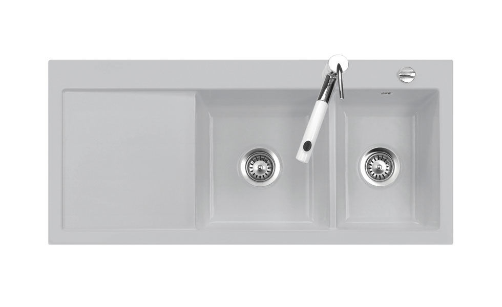 Double kitchen sink / ceramic / with drainboard - MERA: DOUBLE ...