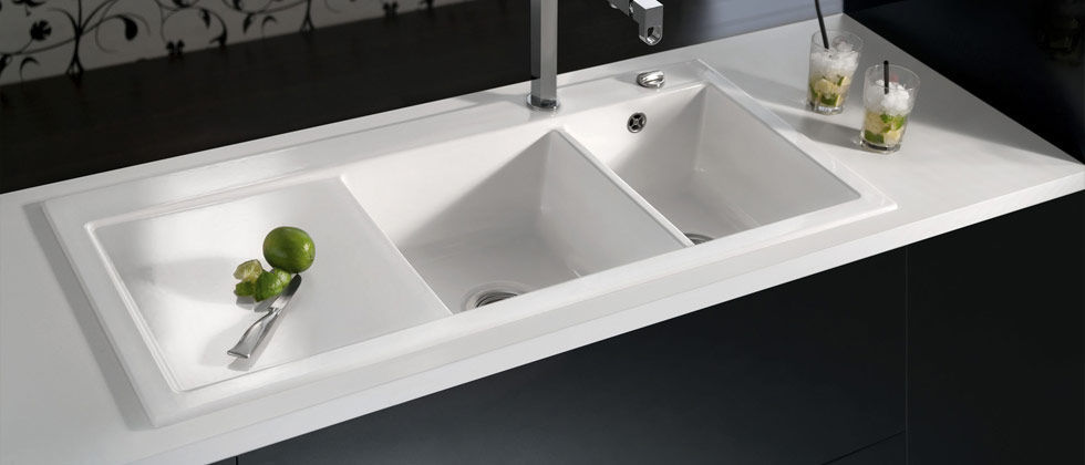 2 bowl kitchen sink ceramic with drainboard mera double systemceram gmbh - Double Ceramic Kitchen Sink
