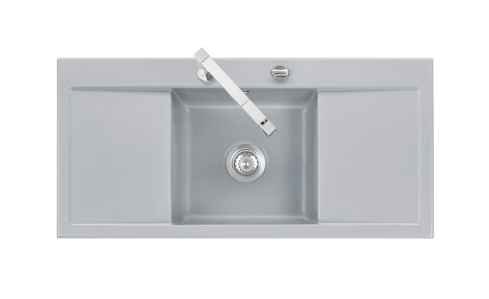 single bowl kitchen sink ceramic with drainboard mera middle middle f