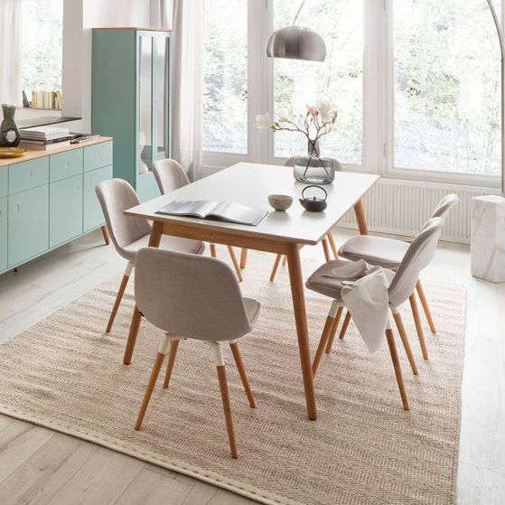 Scandinavian Design Dining Table Oak Laminate Rectangular