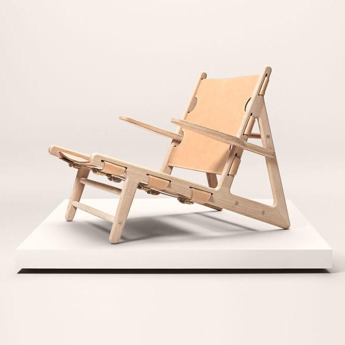 Scandinavian Design Chaise Longue / Leather / Oak   THE HUNTING By Børge  Mogensen