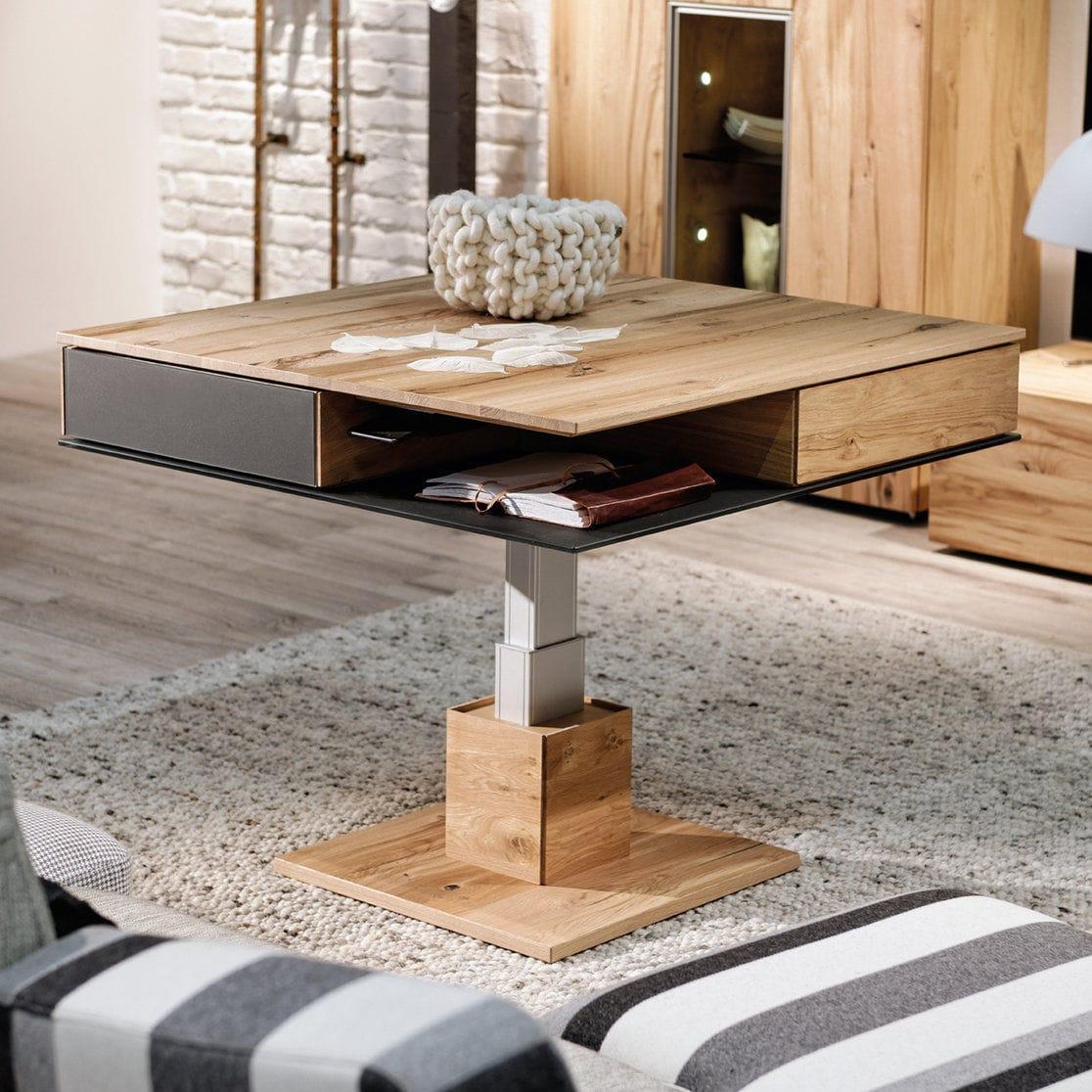 Contemporary Coffee Table Oak Glass Square V Alpin