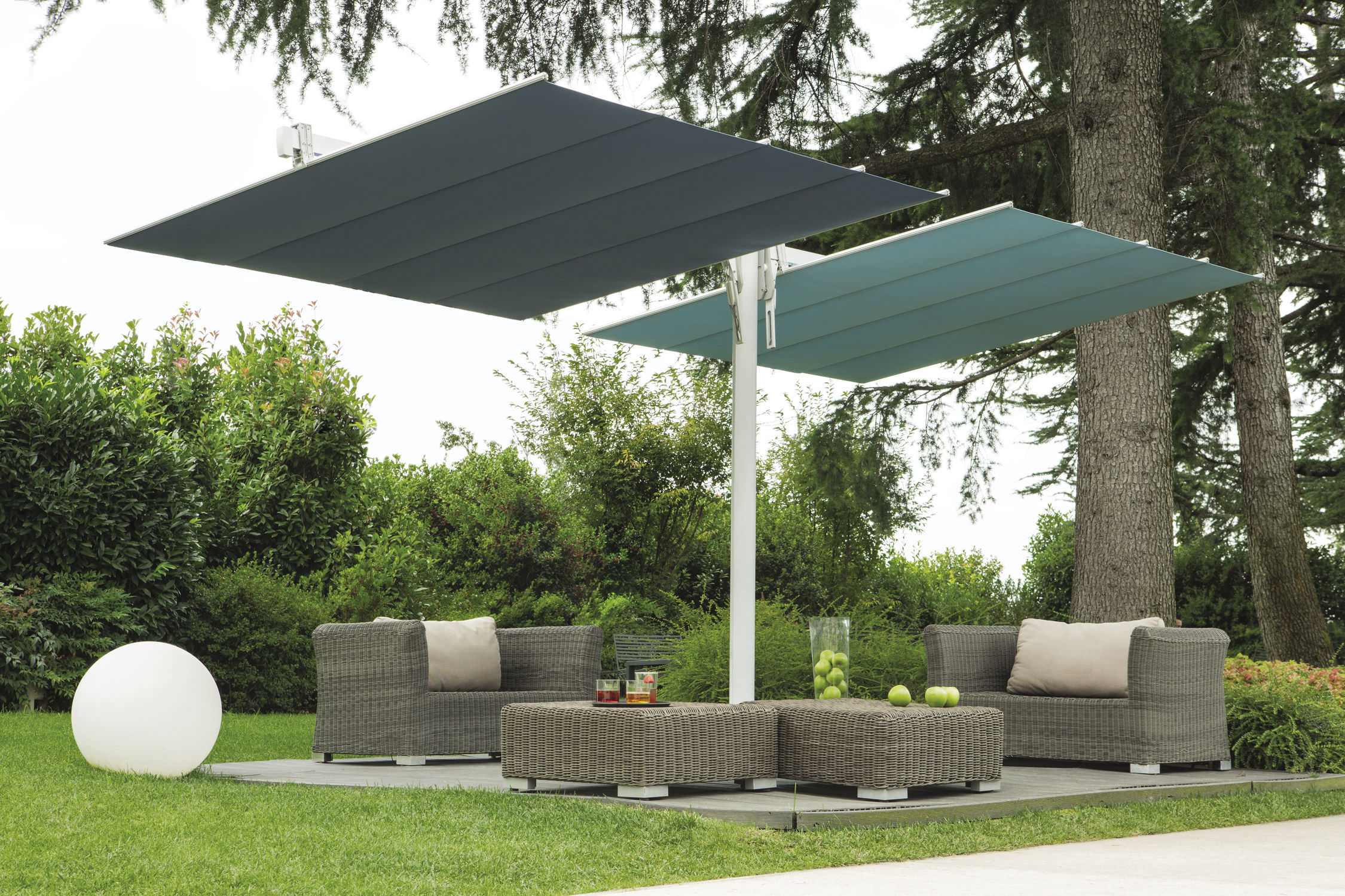 ... Contract patio umbrella / fabric / aluminum / swiveling FLEXY TWIN FIM ... & Contract patio umbrella / fabric / aluminum / swiveling - FLEXY ...