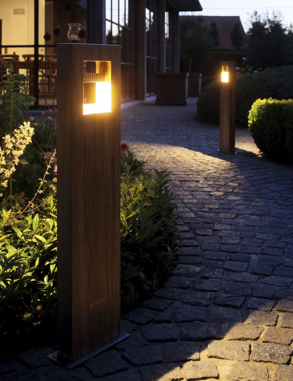 garden bollard light metal led log 70 royal botania - Bollard Lights