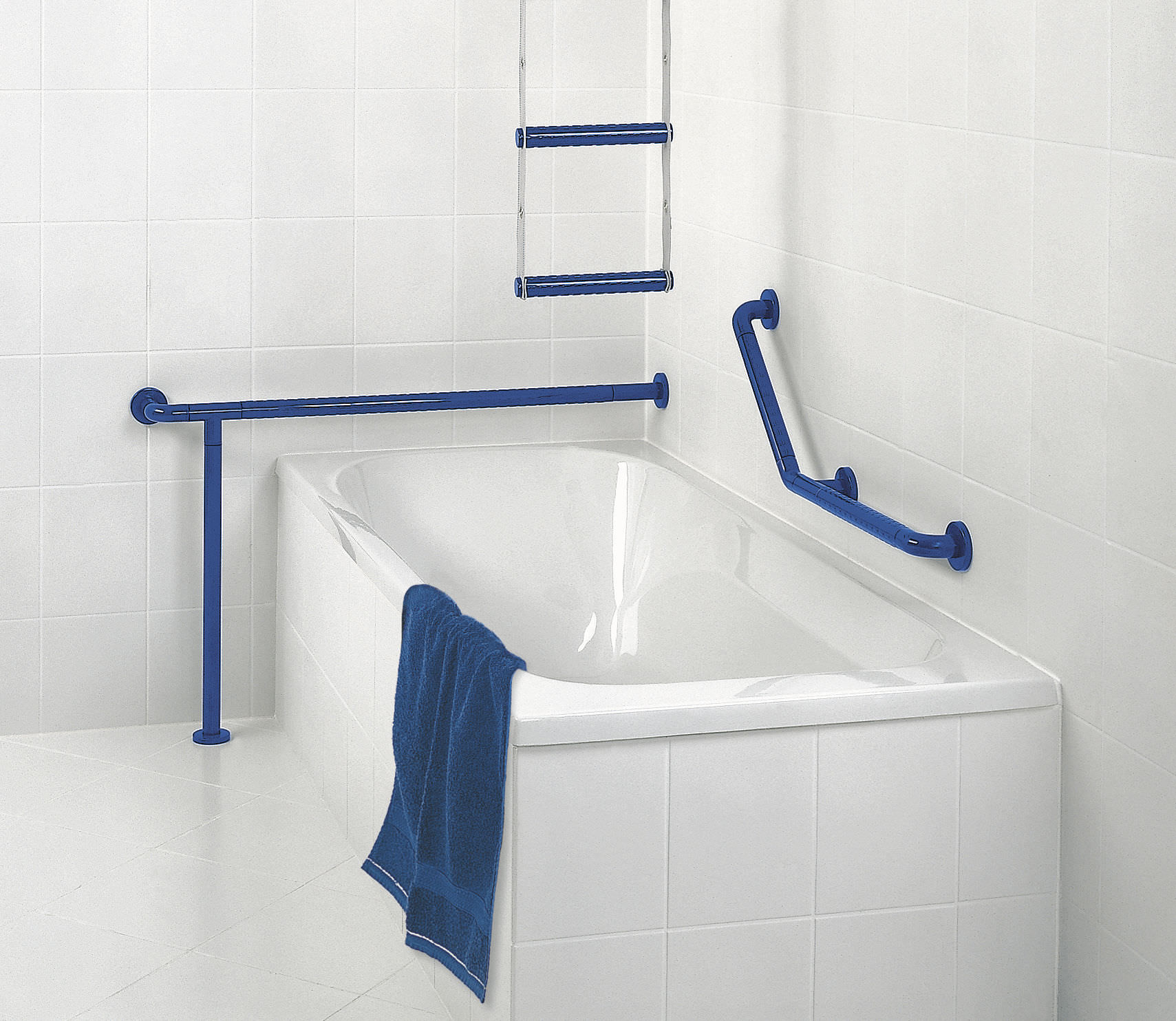 Stainless steel grab bar / L-shaped / floor-mounted / commercial ...