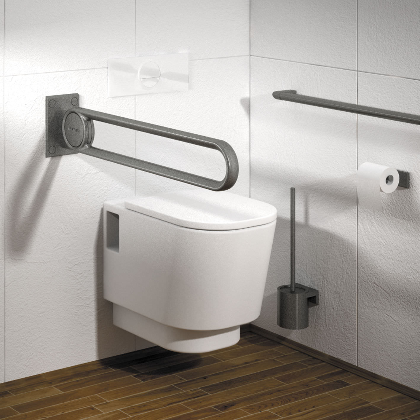 Metal grab bar / U-shaped / wall-mounted / commercial - 7447060 ...