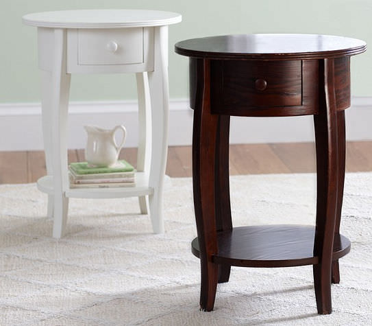 Traditional Bedside Table Solid Wood Round Outdoor SLEIGH - Pottery barn white side table