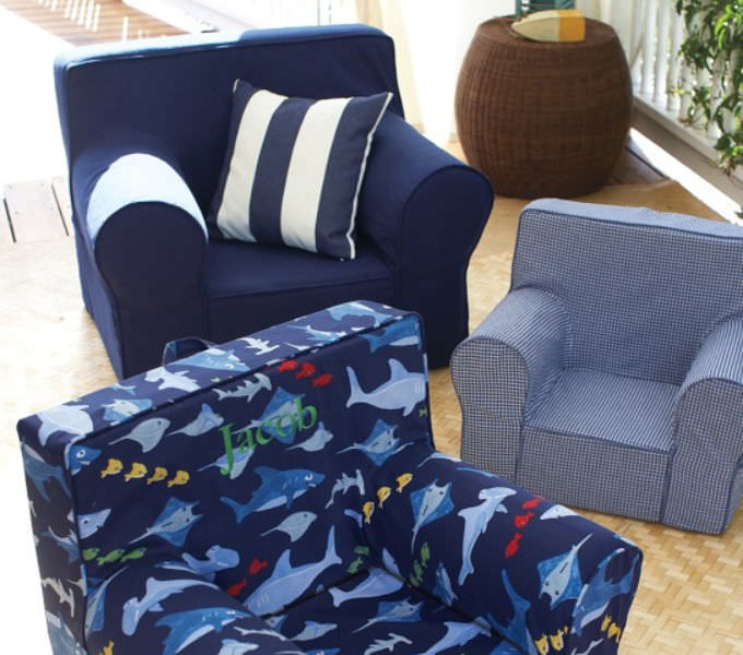 Contemporary Armchair / Cotton / Childu0027s   NAVY ANYWHERE CHAIR