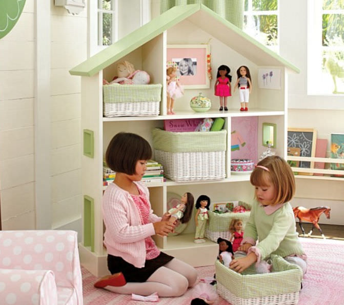 Contemporary Bookcase Wooden Child S Girl S Dollhouse