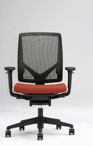 Contemporary Office Armchair Fabric On Casters With Armrests