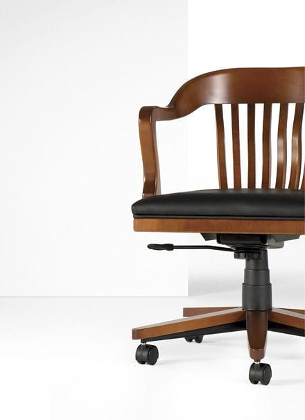 Classic Office Armchair / Wooden / Leather / Adjustable Height ...