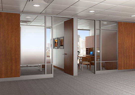 wooden office partitions. Fixed Partition / Aluminum Wooden Glazed GENIUS® KI Office Partitions