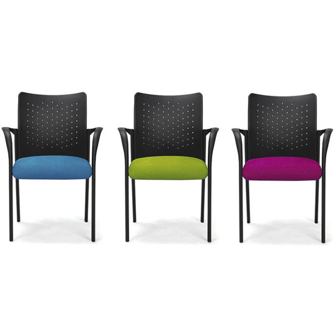 contemporary visitor chair / fabric / upholstered / with armrests