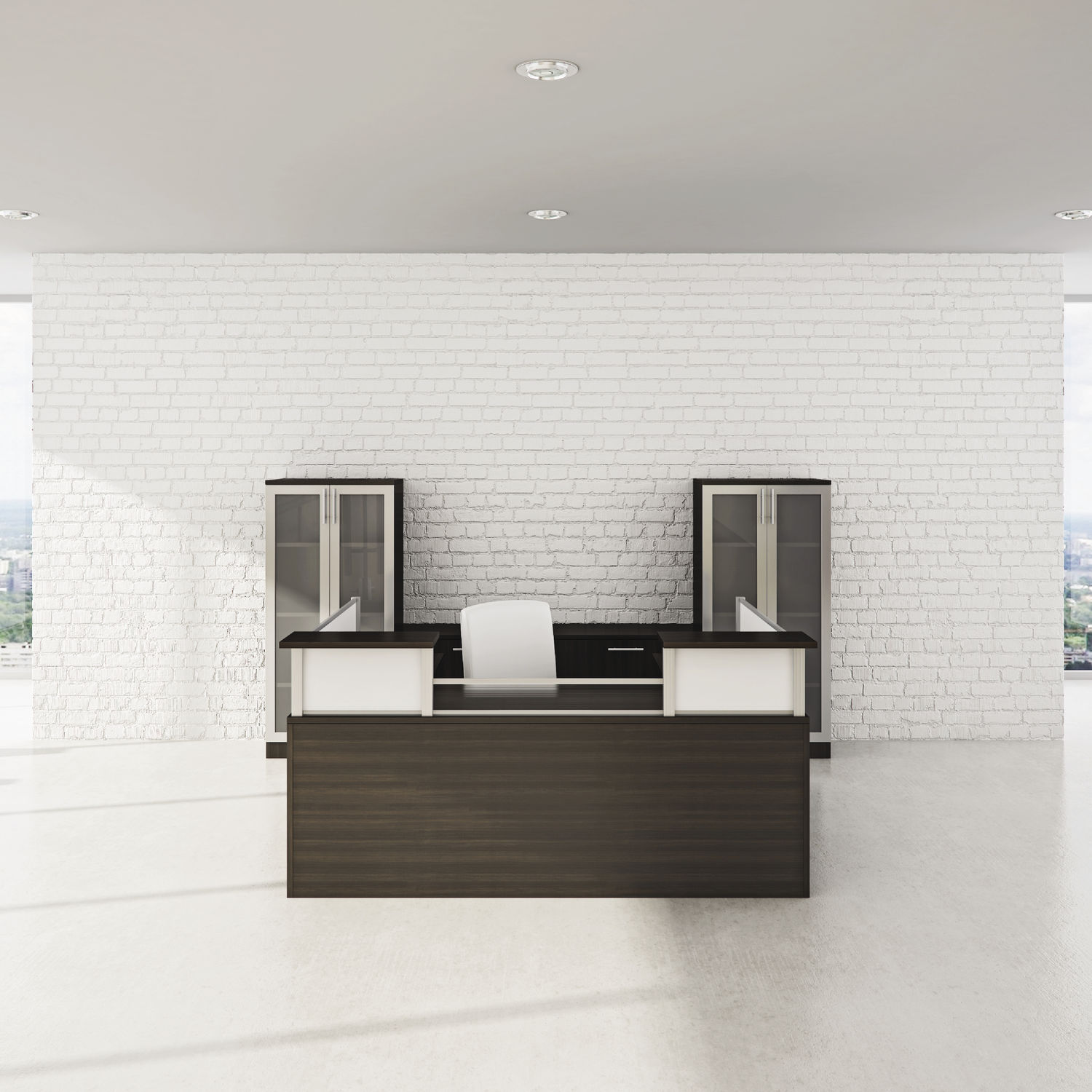 Corner Reception Desk Modular Glass Laminate Modern Panelx