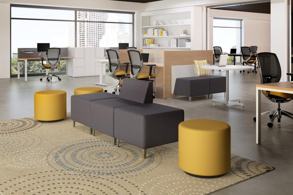 Modular Upholstered Bench Contemporary Fabric Commercial Dwell Kimball Office