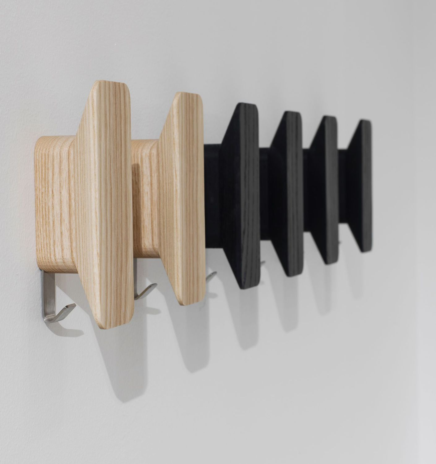 contemporary coat hook  stainless steel  wooden  double  plane  -  contemporary coat hook  stainless steel  wooden  double plane bygino carollo davis