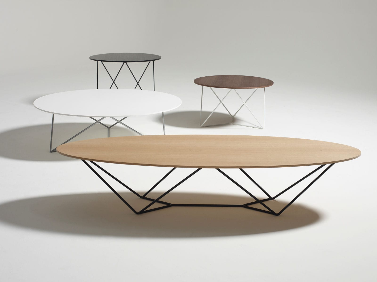 Contemporary Coffee Table Wooden Metal Oval Stem By Jonathan Prestwich Davis