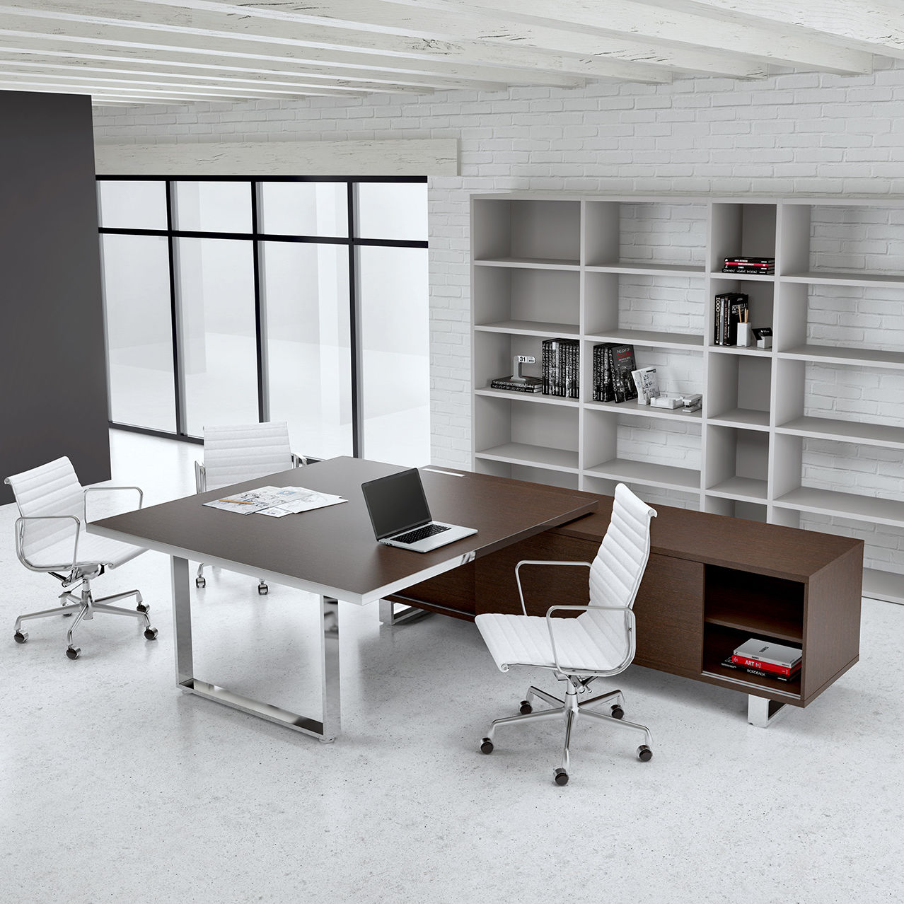 Executive Desk Steel Stainless Glass Archimede By Filippon Mirto Antonel