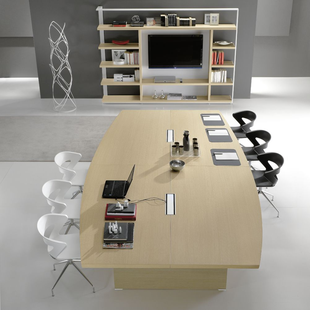 Contemporary Conference Table Wood Veneer Glass Leather - Wood veneer conference table