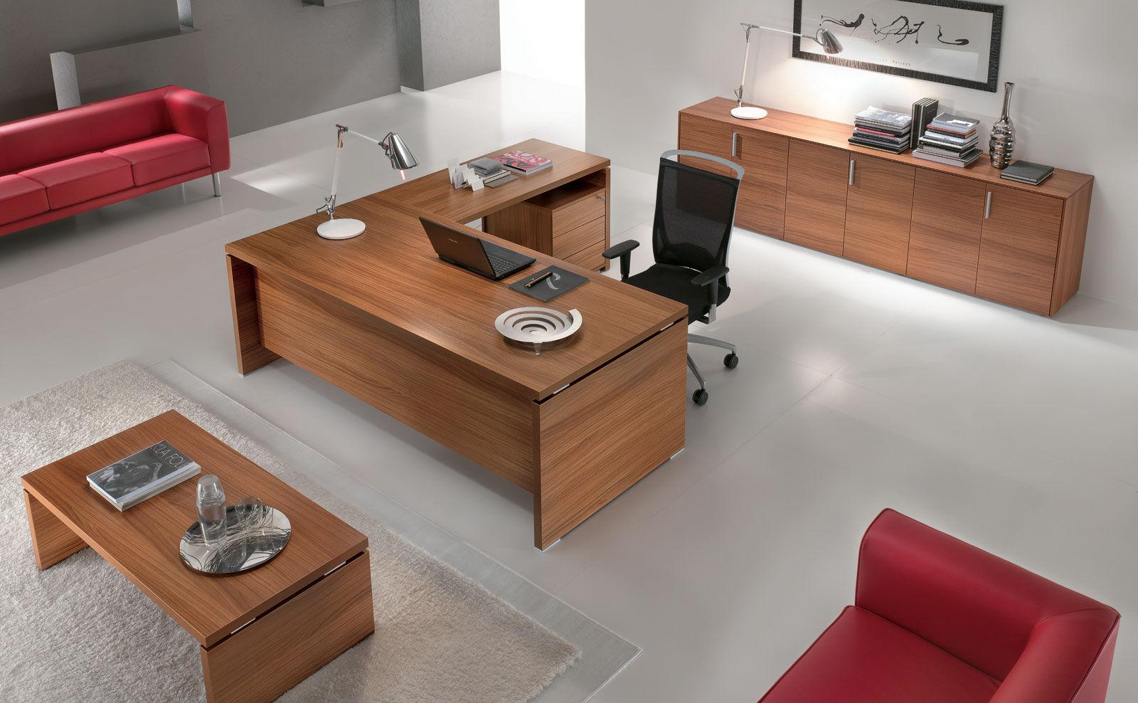 Executive Desk Wood Veneer Aluminum Glass