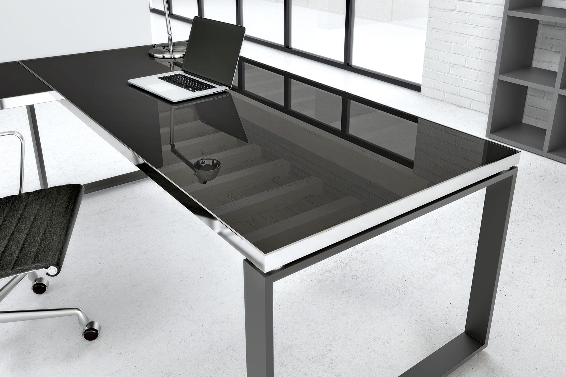 Executive Desk Steel Stainless Glass