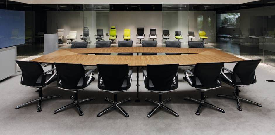Contemporary Conference Table Laminate Rectangular Oval - Horseshoe conference table