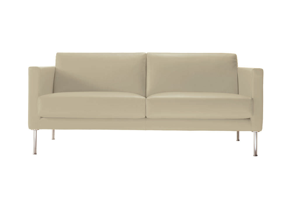 Contemporary Sofa Synthetic Leather Fabric 2 Person Cubic